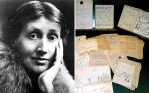A previously unpublished series of hand-written Virginia Woolf (L) manuscripts that she wrote for The Charleston Bulletin, a mock newspaper created by her young nephews, Julian and Quentin Bell
