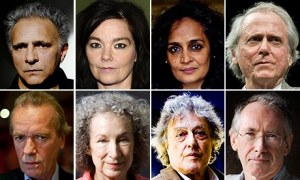 Clockwise from top left, eight of the people who have signed the petition: Hanif Kureishi, Björk, Arundhati Roy, Don DeLillo, Ian McEwan, Tom Stoppard, Margaret Atwood and Martin Amis